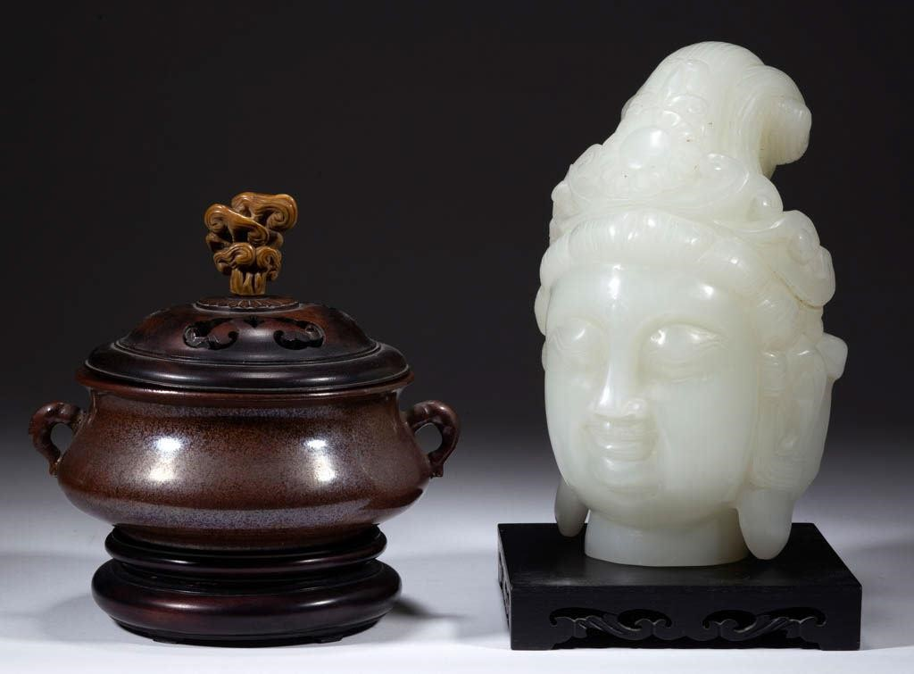 Chinese bronze censer and jade bust