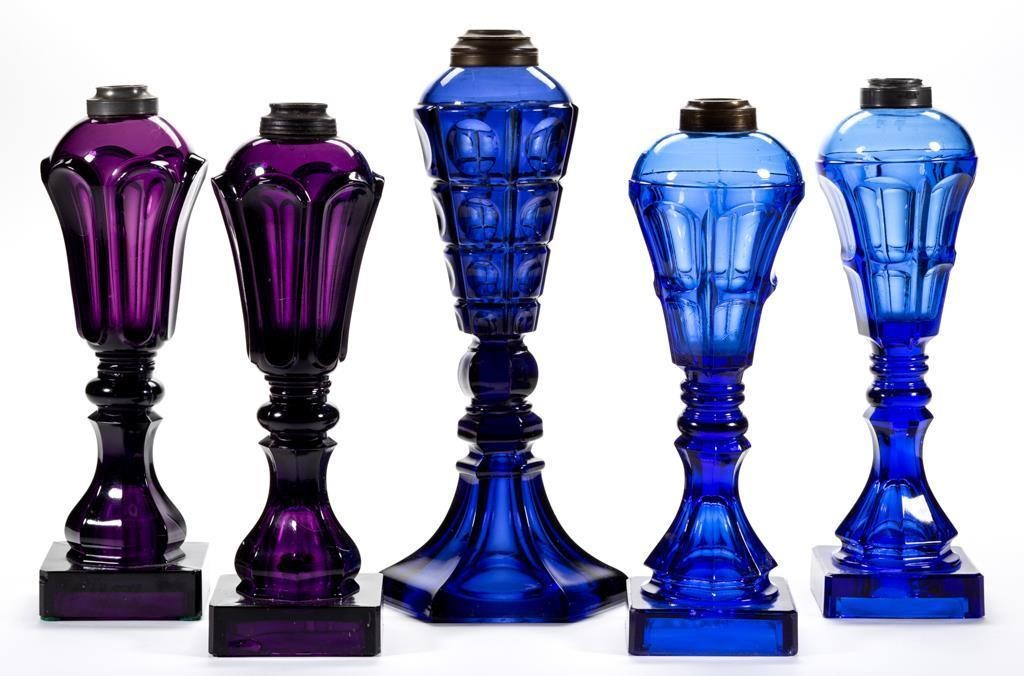 Selection of colored whale oil/fluid lamps