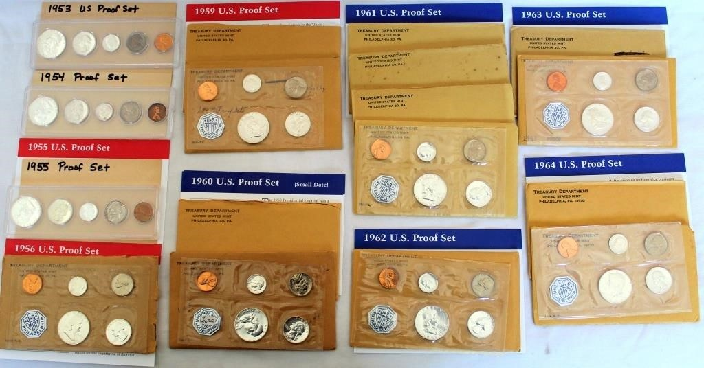 (19) US Coin Proof Sets 1953-1964
