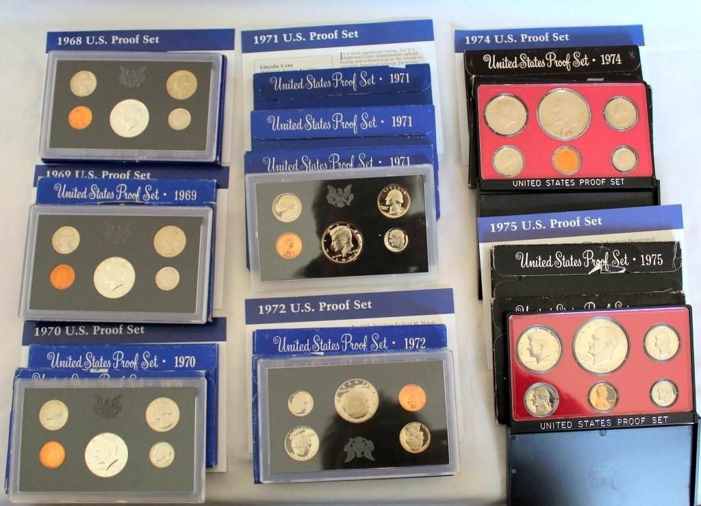 (14) US Coin Proof Sets 1968-1975