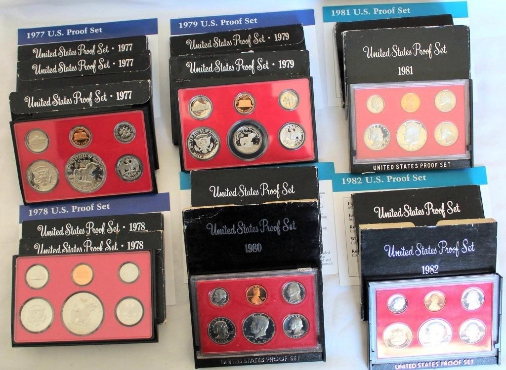 (13) US Coin Proof Sets 1977-1982