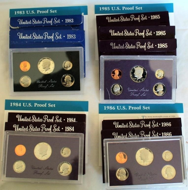 (9) US Coin Proof Sets 1983-1986