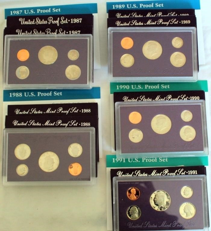 (8) US Coin Proof Sets 1987-1991