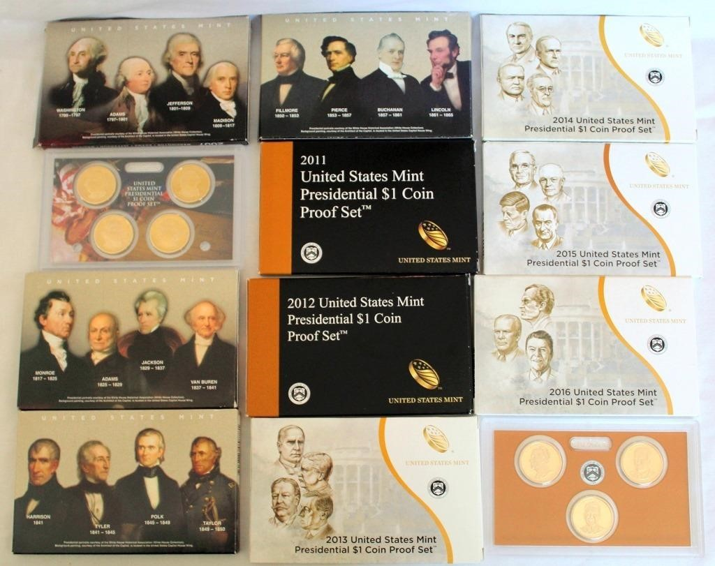 (10) 2007-2016 US Mint Presidential 1$ Coin Proof Sets