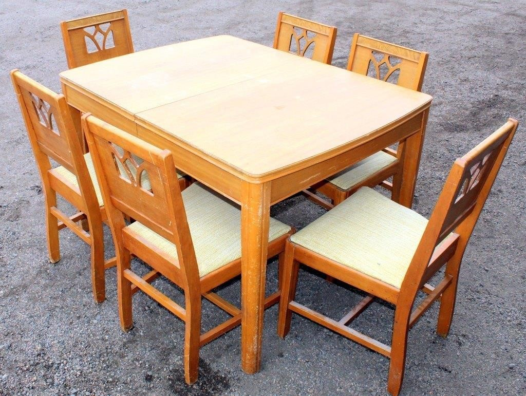 Vintage Table w/Pop-Up Leaf, 6-Chairs