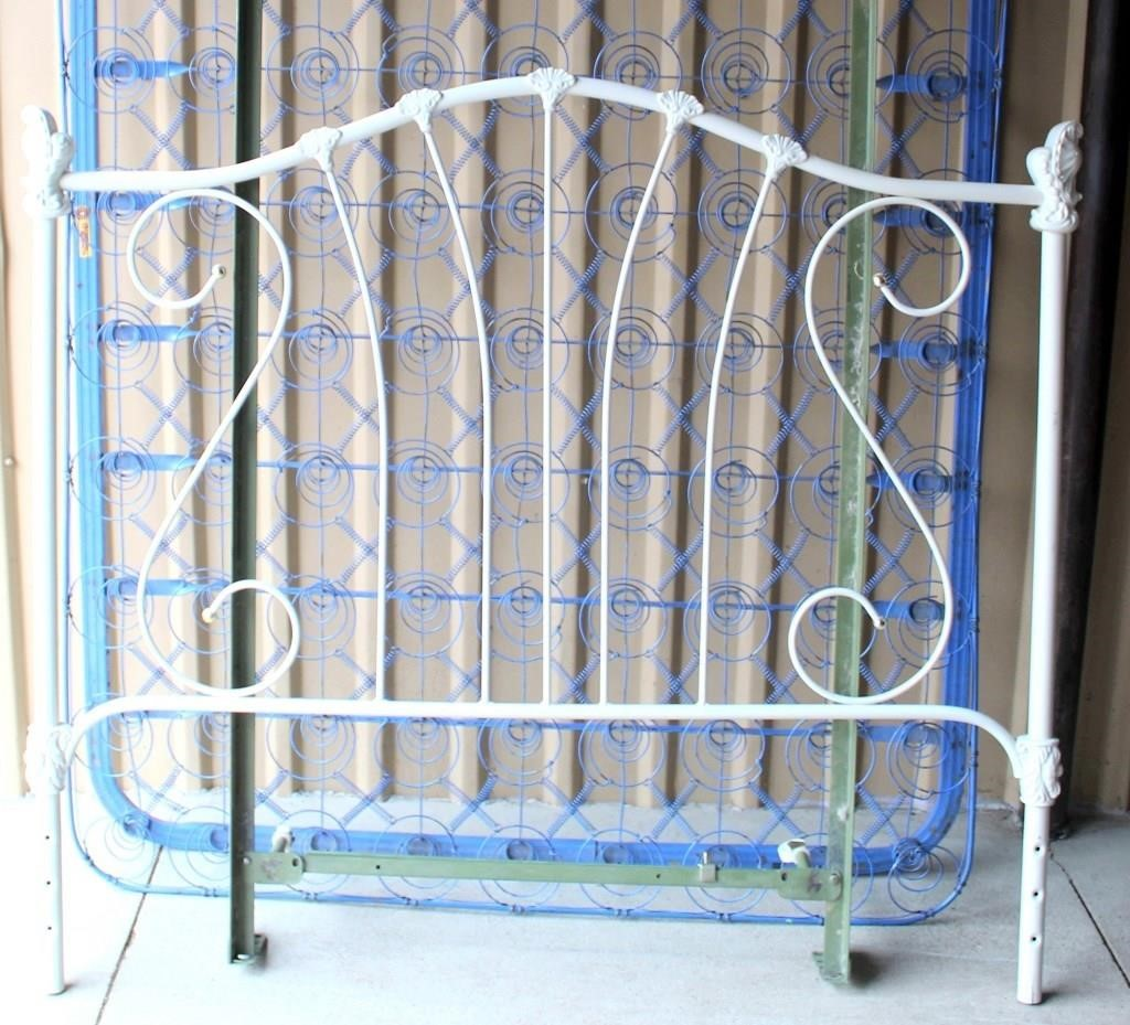 Old Iron Bed Frame, Rails, Springs