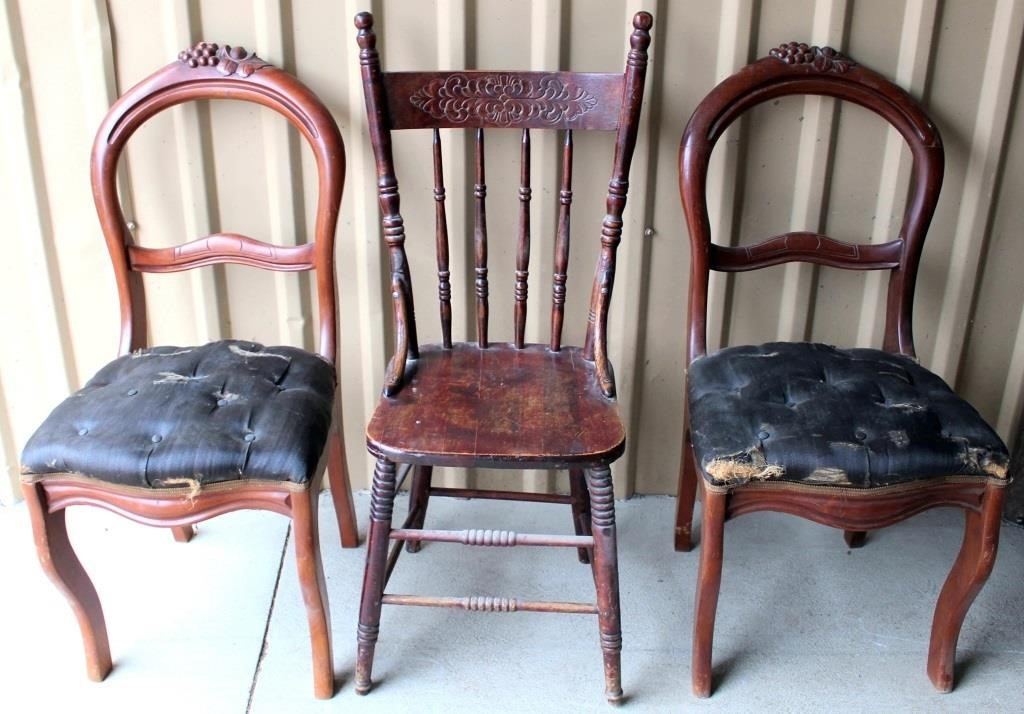 3- Old Wood Chairs (for restoration)
