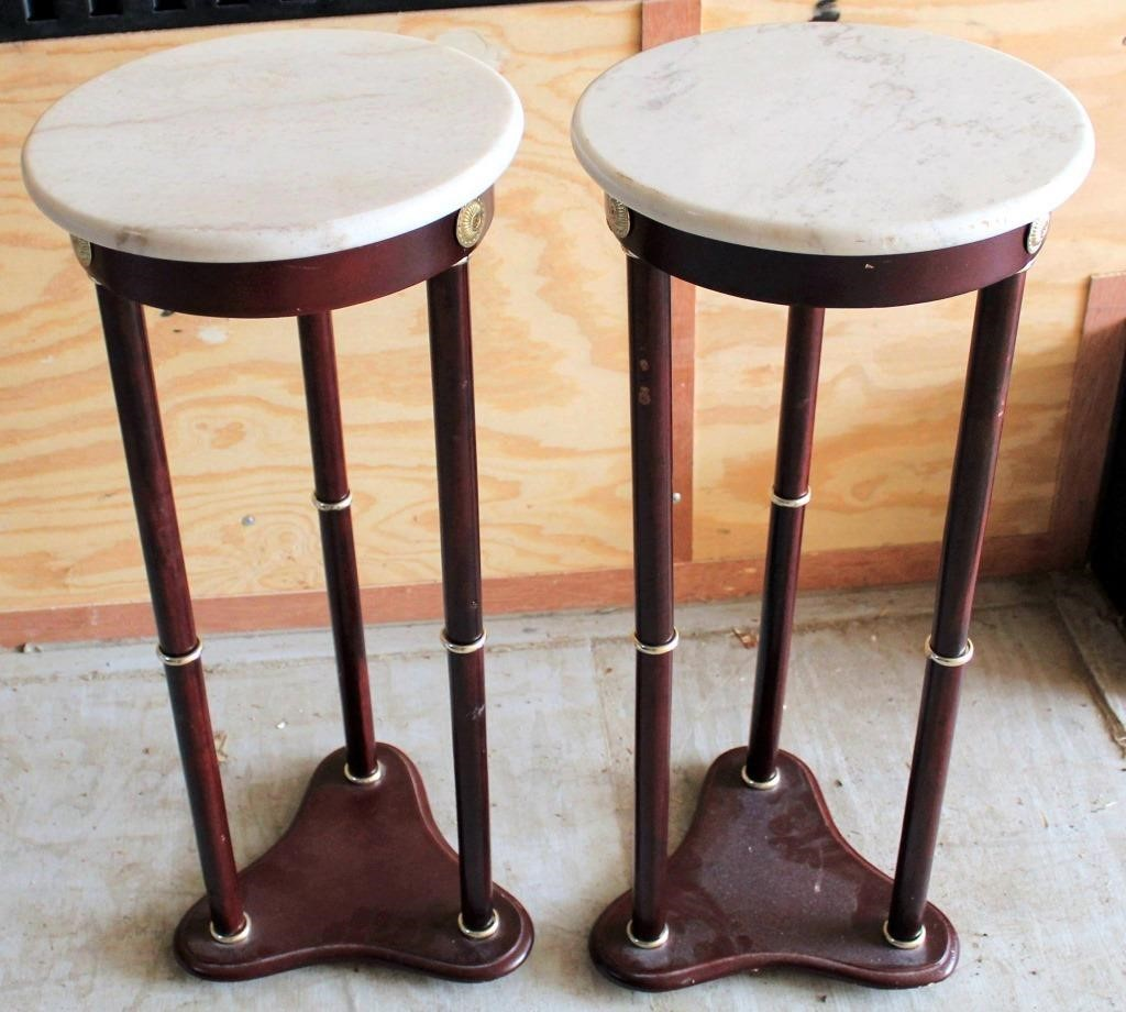 (2) Small Round Side Tables w/Marble Top