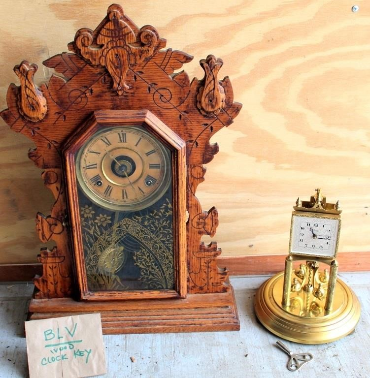 Old Wood Mantle Clock, and Anniversary Clock, no dome (both have keys)